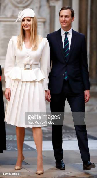 Ivanka Trump and Jared Kushner visit Westminster Abbey where US President Donald Trump laid a wreath at the grave of the Unknown Warrior on day 1 of...