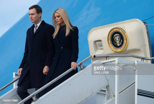 Ivanka Trump and Jared Kushner White House Senior Advisers disembark from from Air Force One as they travel with US President Donald Trump and First...