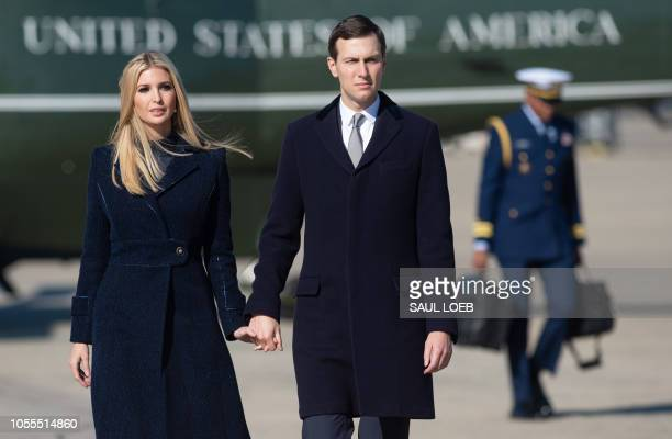 Ivanka Trump and Jared Kushner White House Senior Advisers walk to Air Force One prior to departure with US President Donald Trump and First Lady...