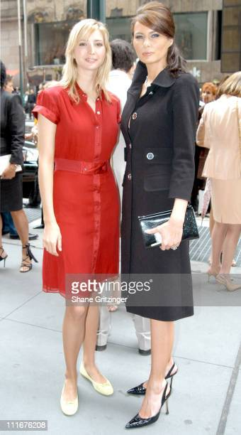 Ivanka Trump and Melania Knauss during Dennis Basso Fashion Show Fall/Winter 2004 at Cipriani in New York City New York United States