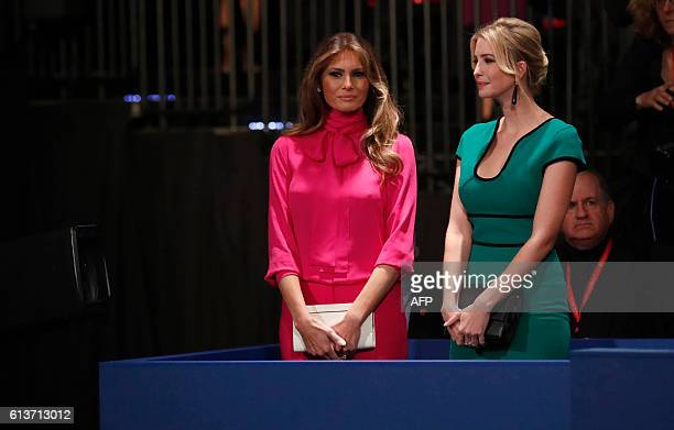 Ivanka Trump and Melania Trump appear before the second presidential debate at Washington University in St Louis Missouri on October 9 2016 / AFP /...