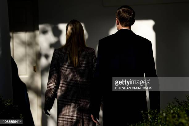 Ivanka Trump and Senior Advisor Jared Kushner walk to the West Wing after a turkey pardoning in the Rose Garden of the White House November 20 2018...