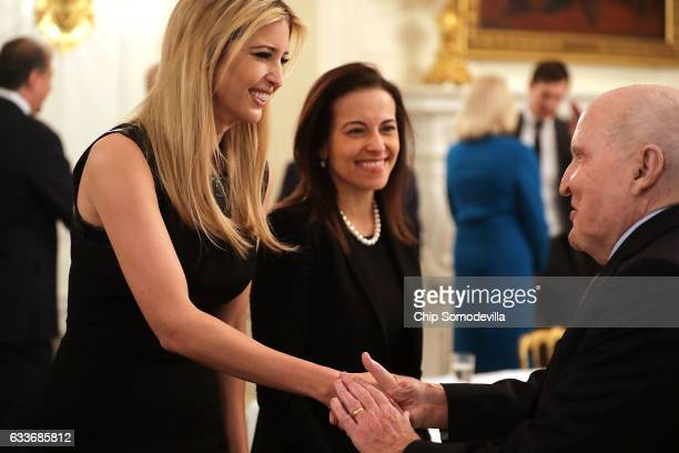 Ivanka Trump and White House Senior Counselor for Economic Initiatives Dina Powell greet former General Electric CEO Jack Welch at the beginning of a...