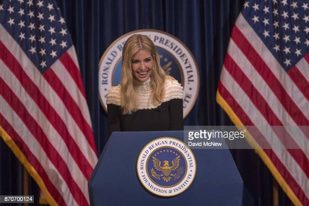 Ivanka Trump appears at the Ronald Reagan Presidential Library to talk about tax cuts and reform on November 5 2017 in Simi Valley California US...