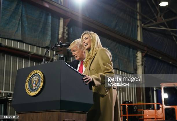 Ivanka Trump arrives on stage to speak along side her father US President Donald Trump following a tour of the HK Equipment Company in Coraopolis...