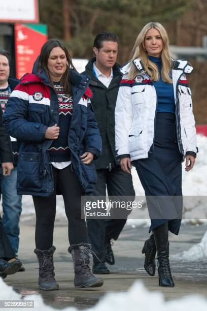 Ivanka Trump arrives with White House Press Secretary Sarah Huckabee Sanders to visit USA House on day sixteen of the PyeongChang 2018 Winter Olympic...