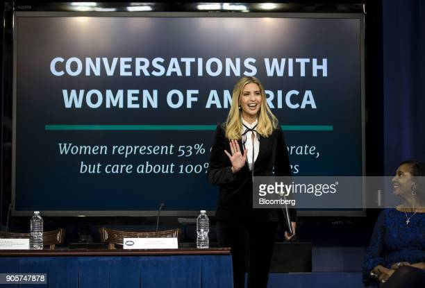 Ivanka Trump assistant to US President Donald Trump arrives to speak at a 'Conversations with the Women of America' event at the Eisenhower Executive...