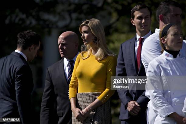 Ivanka Trump assistant to US President Donald Trump center Jared Kushner senior White House adviser center right and HR McMaster national security...