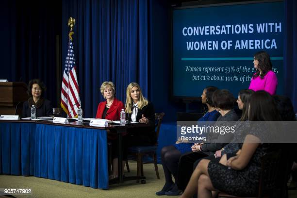 Ivanka Trump assistant to US President Donald Trump center speaks while Elaine Chao US transportation secretary from left and Linda McMahon...
