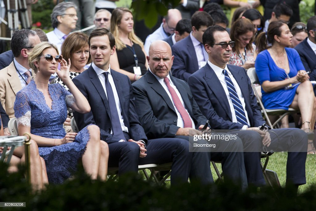 Ivanka Trump, assistant to U.S. President Donald Trump, from left, Jared Kushner, senior White House adviser, H.R. McMaster, national security advisor, and Steven Mnuchin, U.S. Treasury secretary, sit before the start of a joint press conference with Trump and Saad Hariri, Lebanon's prime minister, not pictured, in the Rose Garden of the White House in Washington, D.C., U.S., on Tuesday, July 25, 2017. Trump said he's disappointed with Attorney General Jeff Sessions for recusing himself from investigations of Russian interference in the 2016 election, and that 'time will tell' if the nation's top law enforcement officer remains in his job. Photographer: Zach Gibson/Bloomberg via Getty Images