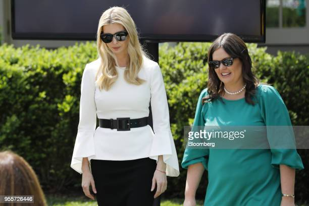 Ivanka Trump assistant to US President Donald Trump left and Sarah Huckabee Sanders White House press secretary arrive for a 'Be Best' initiative...