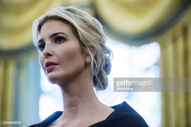 Ivanka Trump assistant to US President Donald Trump listens during a meeting between Trump and Nikki Haley US Ambassador to the United Nations not...