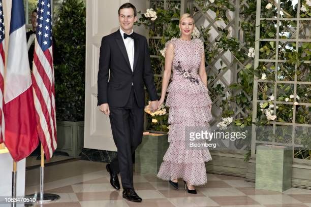 Ivanka Trump assistant to US President Donald Trump right and Jared Kushner senior White House adviser arrive for a state dinner in honor of French...
