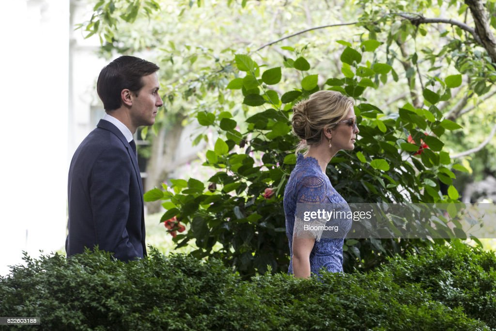 Ivanka Trump, assistant to U.S. President Donald Trump, right, and Jared Kushner, senior White House adviser, arrive for a joint press conference with Trump and Saad Hariri, Lebanon's prime minister, not pictured, in the Rose Garden of the White House in Washington, D.C., U.S., on Tuesday, July 25, 2017. Trump said he's disappointed with Attorney General Jeff Sessions for recusing himself from investigations of Russian interference in the 2016 election, and that 'time will tell' if the nation's top law enforcement officer remains in his job. Photographer: Zach Gibson/Bloomberg via Getty Images