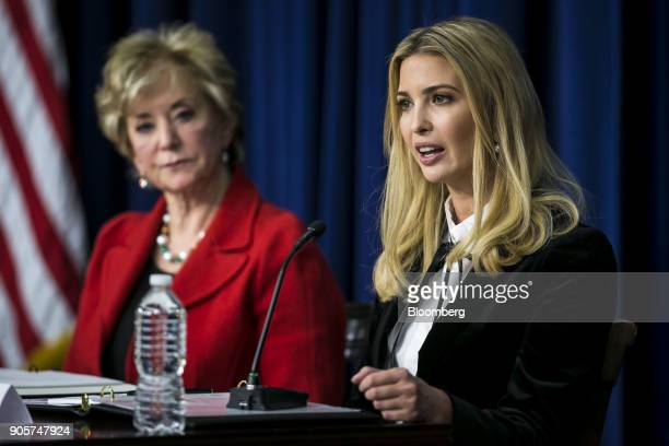 Ivanka Trump assistant to US President Donald Trump speaks during a 'Conversations with the Women of America' event at the Eisenhower Executive...
