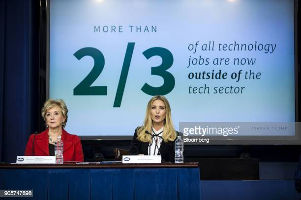 Ivanka Trump assistant to US President Donald Trump speaks while Linda McMahon administrator of the Small Business Administration left listens during...