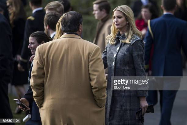 Ivanka Trump assistant to US President Donald Trump speaks with attendees before the start of a tax bill passage event with US President Donald Trump...