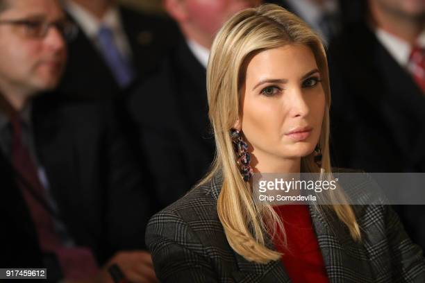 Ivanka Trump attends a meeting with her father US President Donald Trump and state and local officials to unveil the Trump administration's...