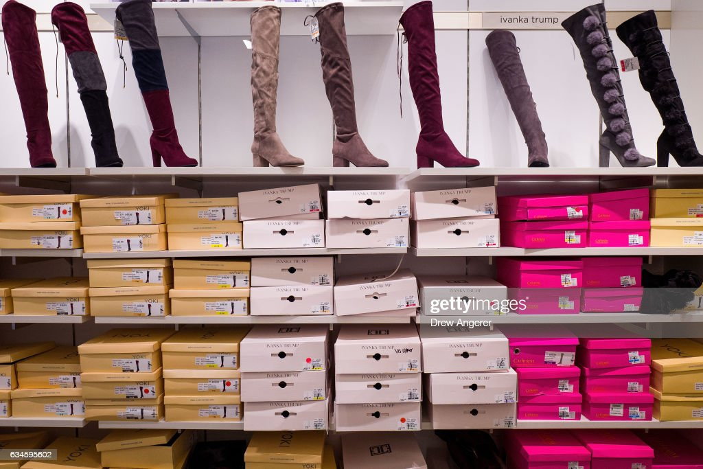 Ivanka Trump brand boots (white boxes) for sale at the Century 21 department store February 10, 2017 in New York City. According to a market research firm Slice Intelligence, Ivanka Trump merchandise saw a 26 percent dip in sales in January 2017 compared to January 2016. Kellyanne Conway, a senior counselor to President Donald Trump, has been accused of ethics violations for promoting the Ivanka Trump fashion line during a television interview on Thursday.