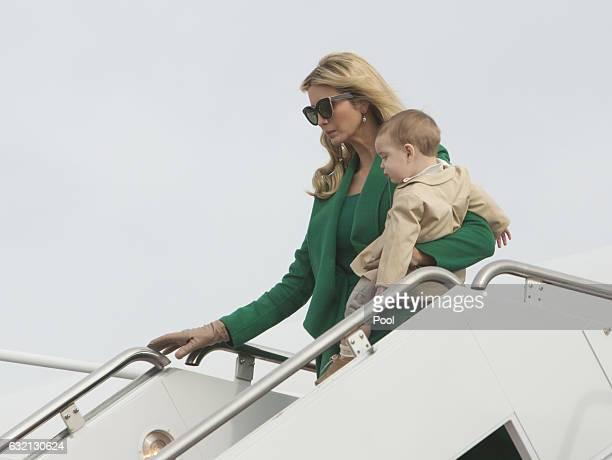 Ivanka Trump carrying son Theordore James Kushner arrives at Joint Base Andrews in January 19 2017 in Maryland Hundreds of thousands of people are...