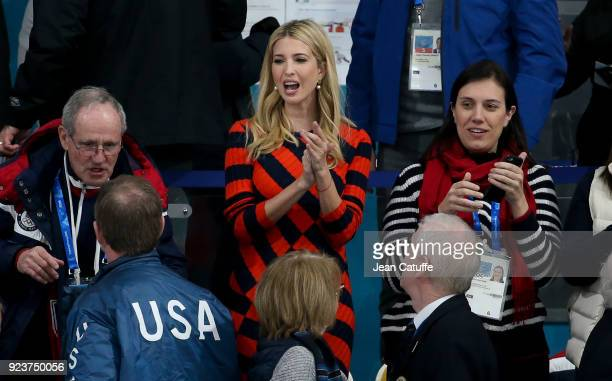 Ivanka Trump celebrates the gold medal for Team USA following the Curling Men's Gold Medal Game between USA and Sweden on day fifteen of the...