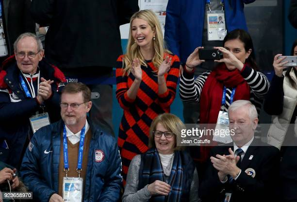 Ivanka Trump celebrates the gold medal of Team USA during the medal ceremony following the Curling Men's Gold Medal Game between USA and Sweden on...