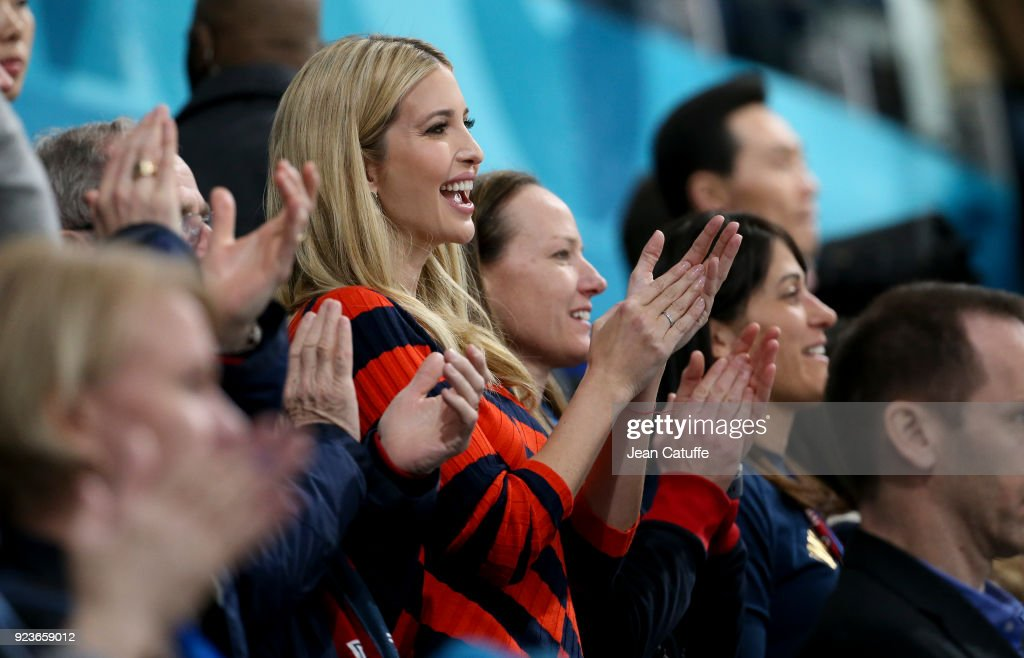 Ivanka Trump celebrates the gold medal of Team USA during the medal ceremony following the Curling Men's Gold Medal Game between USA and Sweden on day fifteen of the PyeongChang 2018 Winter Olympic Games at Gangneung Curling Centre on February 24, 2018 in Gangneung, Pyeongchang, South Korea.