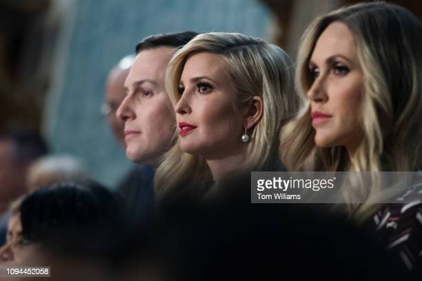 Ivanka Trump center and her husband Jared Kushner are seen in the House Chamber as her father President Donald Trump delivered his State of the Union...
