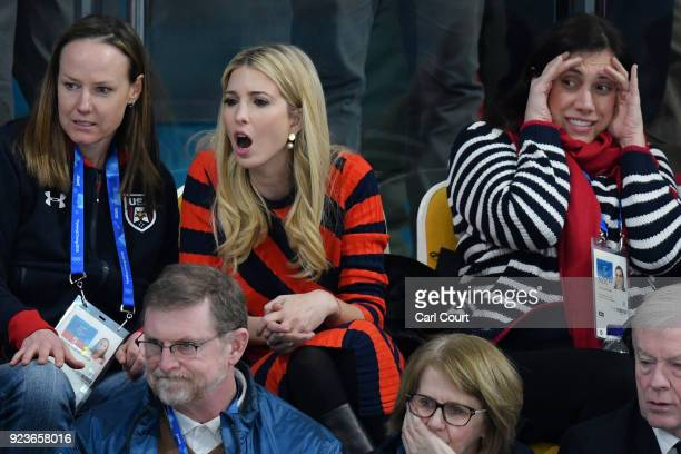 Ivanka Trump cheers while sat between former Olympic US bobsledders Shauna Rohbock and Valerie Fleming as the United States beat Sweden in their...