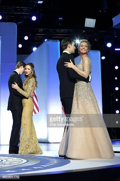 Ivanka Trump dances with her husband and White House senior advisor Jared Kushner and Eric Trump dances with his wife Lara Yunaska during the Freedom...