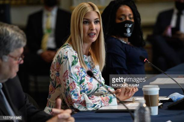Ivanka Trump , daughter and adviser of US President Donald Trump, speaks during a meeting on human trafficking alongside US Attorney General Bill...