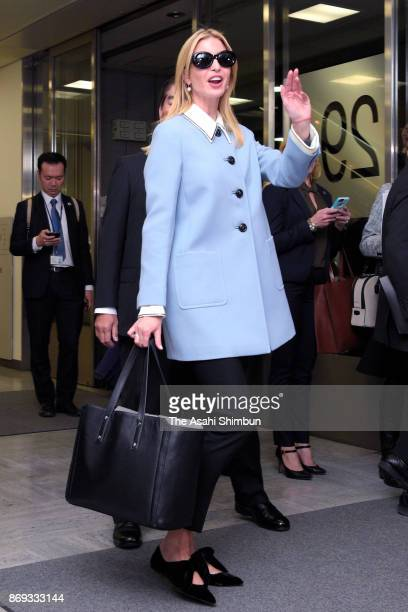 Ivanka Trump daughter and advisor of the US president Donald Trump is seen on arrival at Narita International Airport on November 2 2017 in Narita...