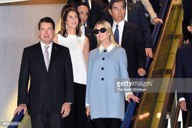 Ivanka Trump daughter and advisor of the US president Donald Trump is escorted by US Ambassador to Japan William Hagarty and his wife Chrissy on...