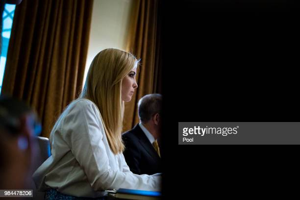 Ivanka Trump daughter and assistant to US President Donald Trump attends a lunch meeting with Republican lawmakers in the Cabinet Room at the White...