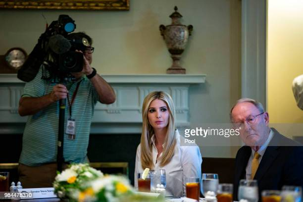 Ivanka Trump daughter and assistant to US President Donald Trump and Sen Lamar Alexander attend a lunch meeting with Republican lawmakers in the...