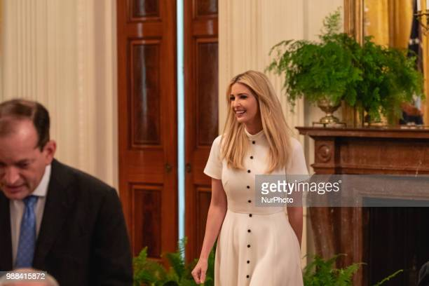 Ivanka Trump daughter and assistant to US President Donald Trump attends his event celebrating the Republican tax cut plan in the East Room of the...
