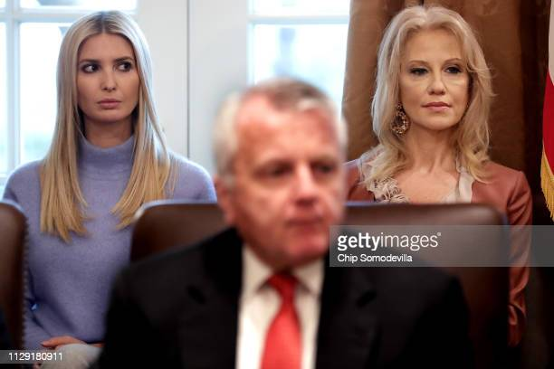 Ivanka Trump daughter of US President Donald Trump and assistant to the president and Counselor to the President Kellyanne Conway listen to the...