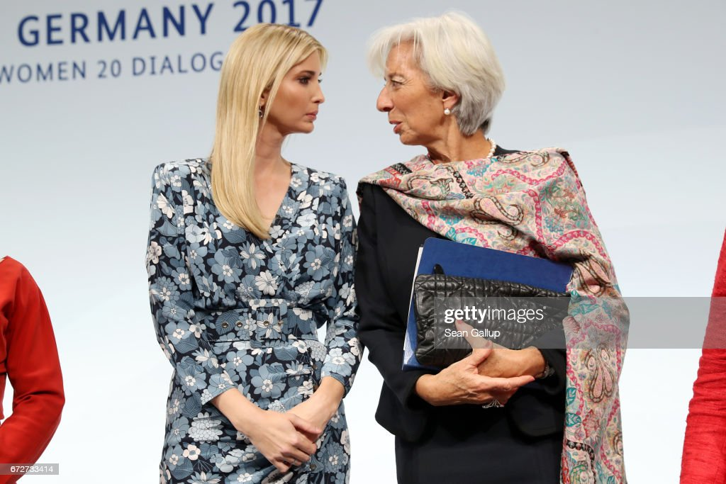 Ivanka Trump, daughter of U.S. President Donald Trump, and International Monetary Fund (IMF) Managing Director Christine Lagarde talk at the W20 conference on April 25, 2017 in Berlin, Germany. The conference, part of a series of events in connection with Germany's leadership of the G20 group of nations this year, focuses on women's empowerment, especially through entrepreneurship and the digital economy.