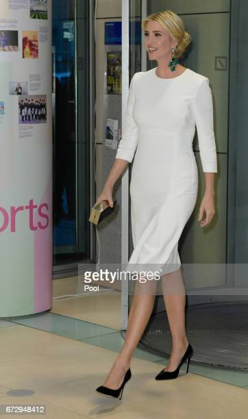 Ivanka Trump daughter of US President Donald Trump arrives at a Gala Dinner at Deutsche Bank within the framework of the W20 summit on April 25 2017...
