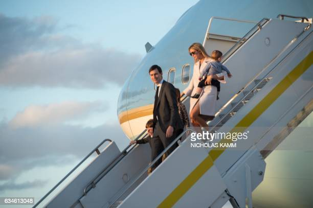 Ivanka Trump daughter of US President Donald Trump her husband Jared Kushner senior adviser to Trump and their children walk off Air Force One at...