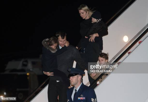 Ivanka Trump daughter of US President Donald Trump her husband Jared Kushner senior White House adviser and their children walk off Air Force One at...