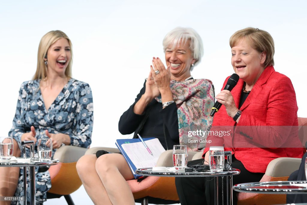 Ivanka Trump, daughter of U.S. President Donald Trump, International Monetary Fund (IMF) Managing Director Christine Lagarde and German Chancellor Angela Merkel talk on stage at the W20 conference on April 25, 2017 in Berlin, Germany. The conference, part of a series of events in connection with Germany's leadership of the G20 group of nations this year, focuses on women's empowerment, especially through entrepreneurship and the digital economy.