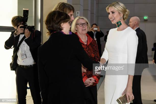 Ivanka Trump daughter of US President Donald Trump is welcomed by the President and Chairwoman of Trumpf Ltd Nicola LeibingerKammueller the President...