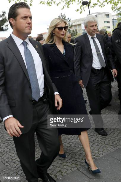 Ivanka Trump daughter of US President Donald Trump leaves the Memorial to the Murdered Jews of Europe also called the Holocaust Memorial on April 25...