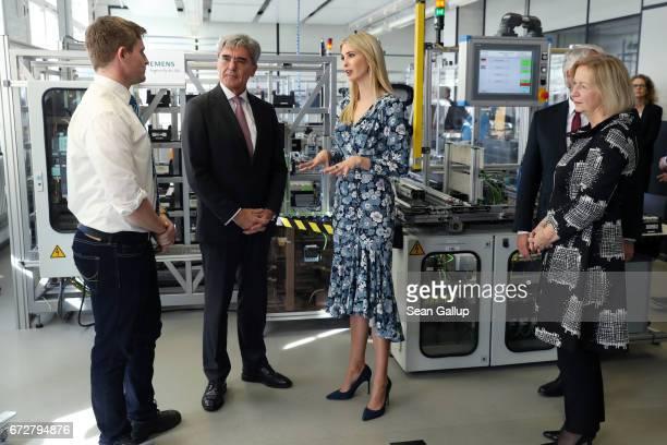 Ivanka Trump daughter of US President Donald Trump meets CEO Siemens Joe Kaeser trainee Thomas Edward Jacques and German Minister for Education...