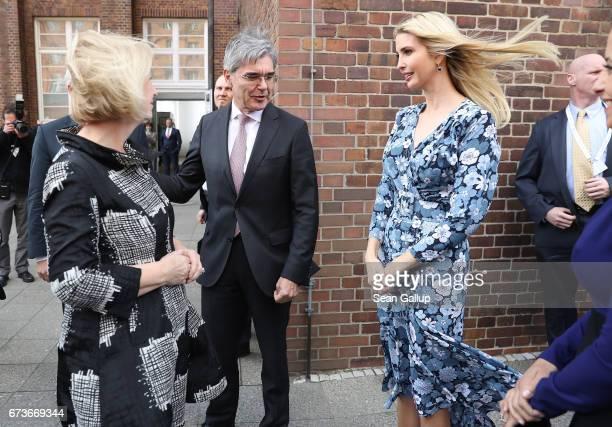 Ivanka Trump daughter of US President Donald Trump meets CEO Siemens Joe Kaeser and German Minister for Education Johanna Wanka at the Siemens...