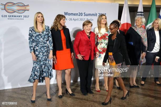 Ivanka Trump daughter of US President Donald Trump President Association of German Women Entrepreneurs Stephanie Bschorr German Chancellor Angela...