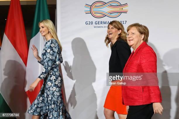 Ivanka Trump daughter of US President Donald Trump President Association of German Women Entrepreneurs Stephanie Bschorr and German Chancellor Angela...