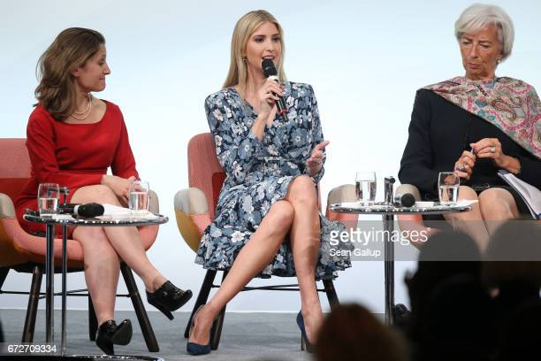 Ivanka Trump daughter of US President Donald Trump speaks on stage next to Canadian Minister of Foreign Affairs Chrystia Freeland and International...