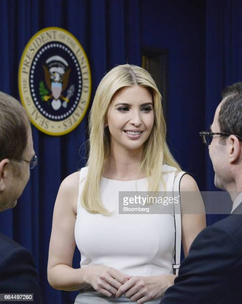 Ivanka Trump daughter of US President Donald Trump speaks to attendees during a town hall meeting with executives on the America business climate in...